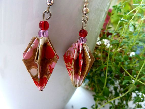Origami Lantern earrings Dangle earrings Washi by MarysaArt