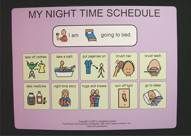 bed night time schedule picture card
