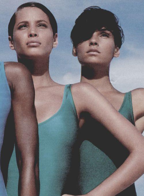 Christy Turlington & Famke Janssen by Gilles Bensimon, Elle France, 1987
