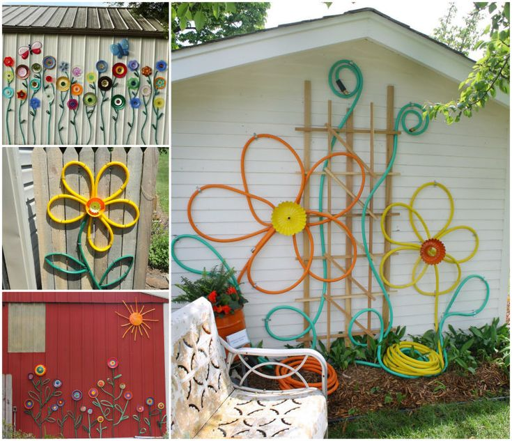 Garden Hose Flower Art Projects - I would love to do the one with all of the plate flowers on the wall of the shed owned by my neighbors that faces the garden patio...but remember...need to get the permission of your neighbors before you do any permanent damage or change to their property!  ;)