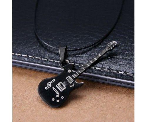 Gitár medál - nyaklánc - fekete színben. Zenészeknek, gitárosoknak, rockereknek ajándékba ajánljuk!