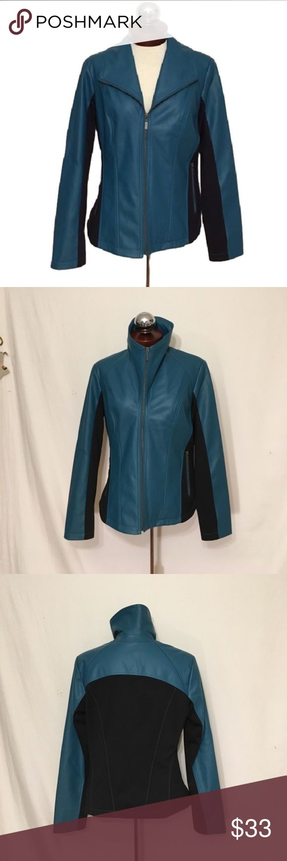Pamela McCOY faux leather biker metro jacket Pamela McCOY faux leather biker metro jacket  SIZE S  Excellent condition!   Color is not even close and is brighter and more of a teal then Photos suggest.   Zip front magical collar.   Stretch panels at sides and rear of jacket. Fully lined. Front zip pockets.   Shoulder 16.5 bust 40 lower Hem 40 length 24 Pamela McCoy Jackets & Coats