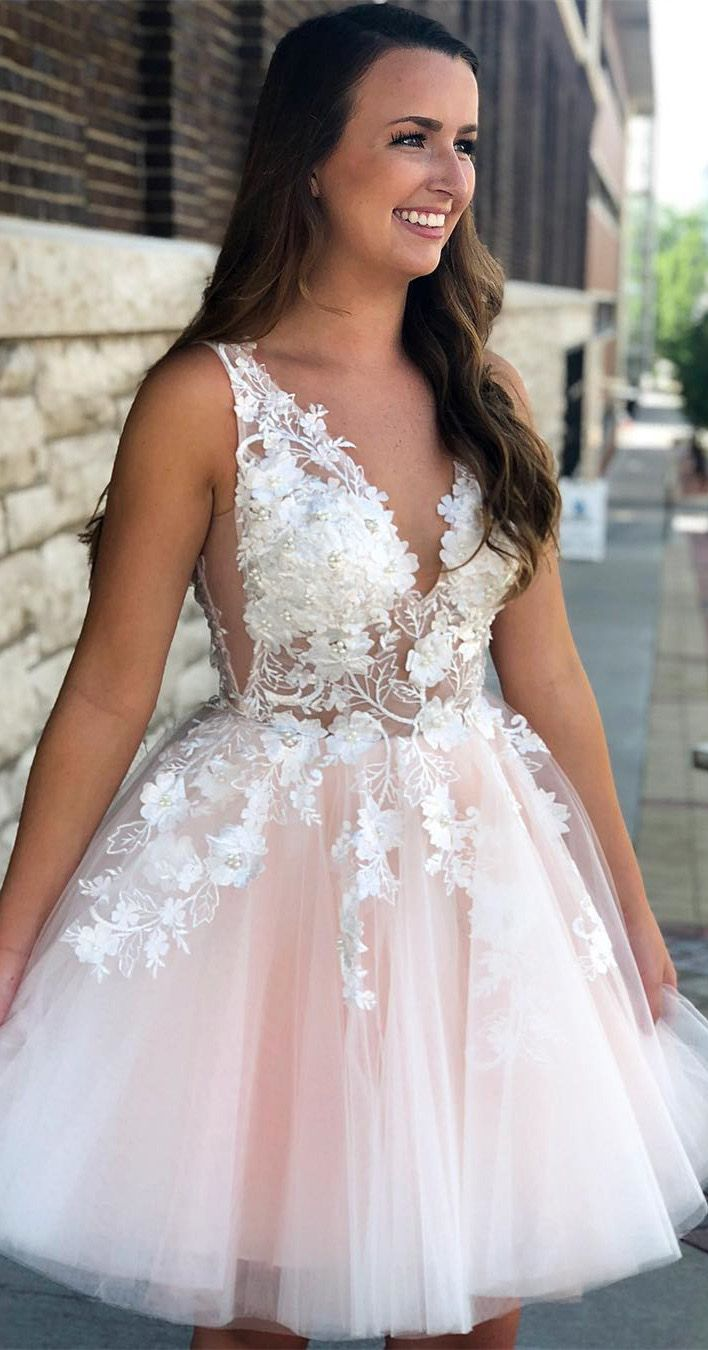 See through lace appliqued homecoming dresses v neck short hoco