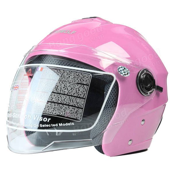 Motorcycle Open Face Helmet W/ Dual Visors Motorcross Cycling Scooter 54-59cm Matt Black Red White Sale - Banggood.com