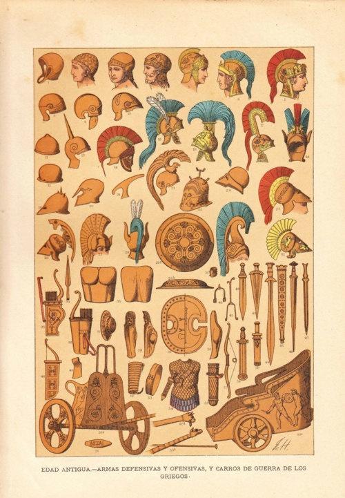Ilustración del armamento de los guerreros hoplitas griegos.