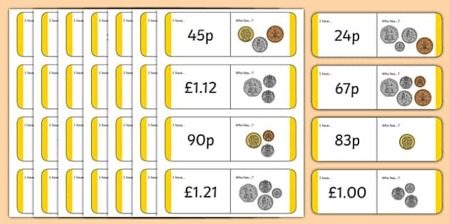 British (UK) Coin Value Loop Cards