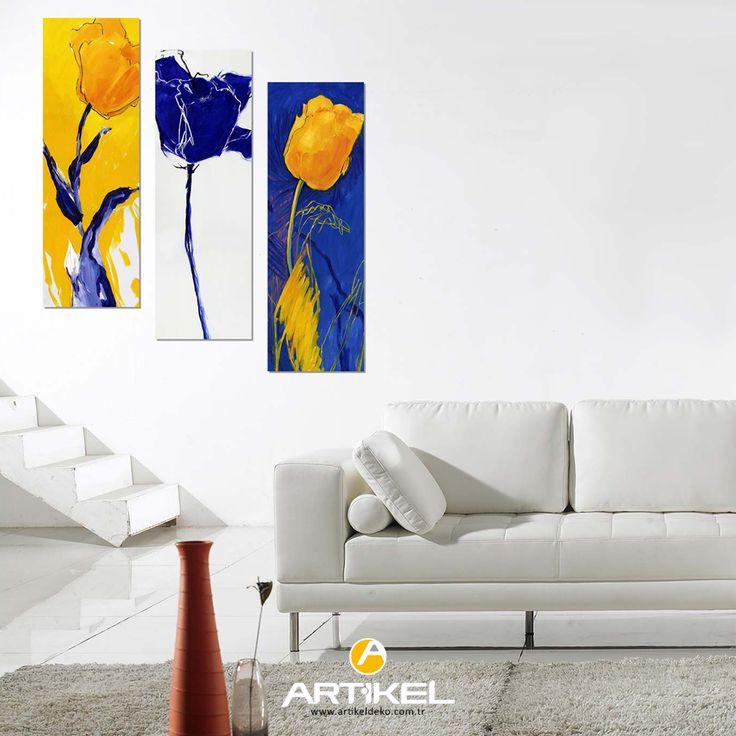 """""""Laleler"""" Kanvas Tablo modelimiz 3 Parça 90x90 cm ölçüsü ile stoklarımızda.. #yeniürün #kanvastablo #art #tasarım"""