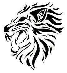 Motif Tato Singa Hitam Putih