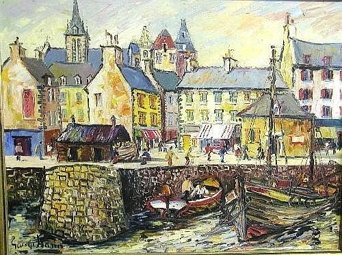 George Hann (20th century British) oil on canvas, French harbour scene, signed, 45 x 60cms