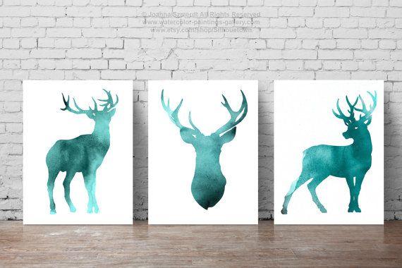 Teal Deer Set of 3 Watercolor Painting Animal Art by Silhouetown