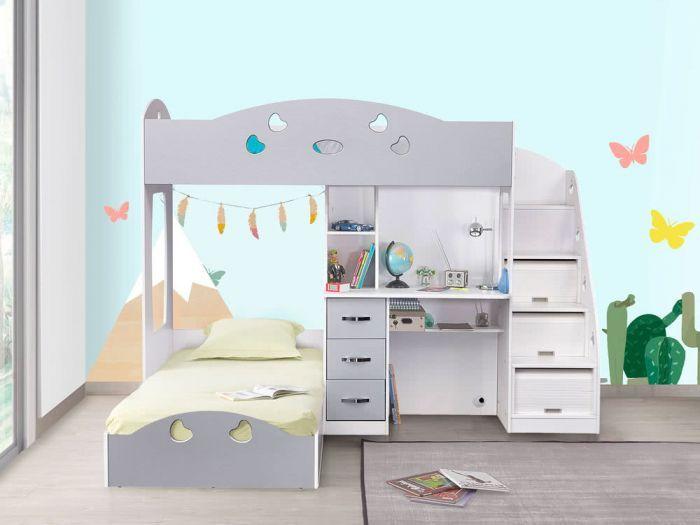 Lit Superpose Avec Rangements Et Bureau 90x190 Gris Blanc Combal Lit Enfant Lits Superposes Avec Rangement Lit Combine