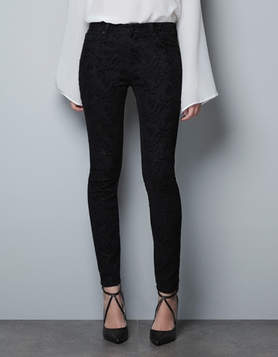 5 POCKET JEANS WITH FLOCK FLORAL PRINT - Trousers - Woman - ZARA United States