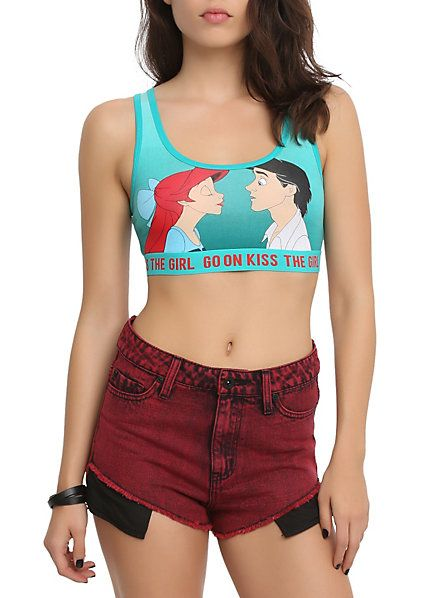Disney The Little Mermaid Kiss The Girl Sports Bra | Hot Topic as seen on Jade Thirwall (Little Mix)