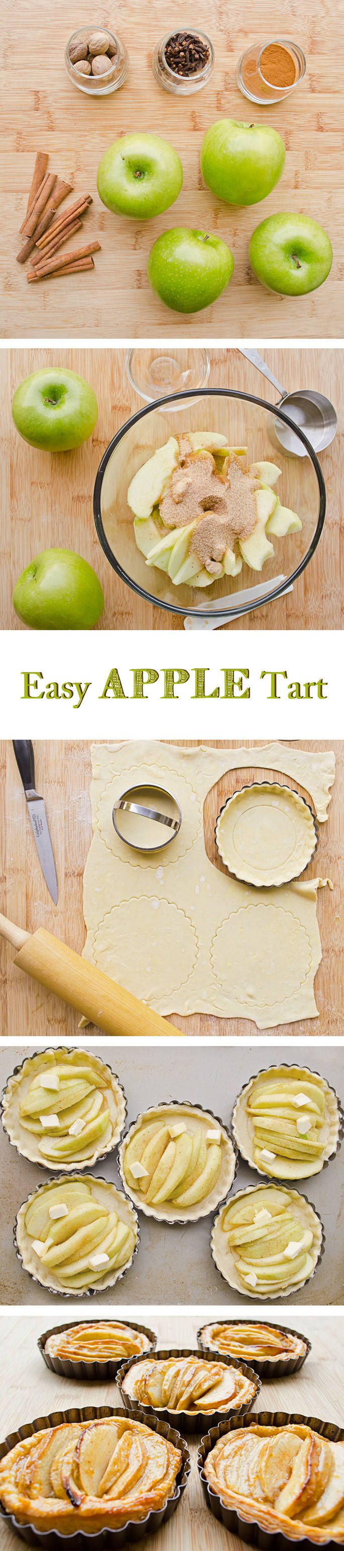Easy Apple Tart Recipe with step by step instructions. So delicious! They're like little apple pies in a flaky puff pastry crust.