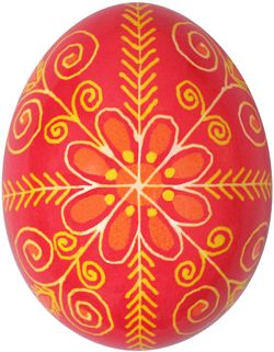 Pysanka withpine needle motif which symbolizes long life and health. Red represents happiness, hope, and passion.