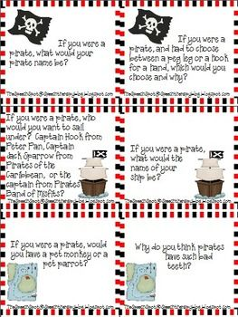 Free! Pirate Talk Conversation/Question Cards....24 fun pirate theme cards