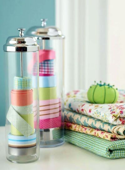 Ribbon storage in straw dispensers: Ribbons Holders, Straws Dispenser, Crafts Rooms, Ribbons Storage, Cute Ideas, Ribbons Organizations, Sewing Rooms, Washi Tape, Storage Ideas