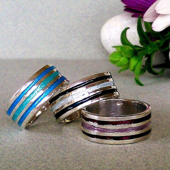 SILVER BAND RING/silver enamel ring/color ring/sterling silver ring/band ring/handmade ring/art jewelry/gift for her/great gift/art ring