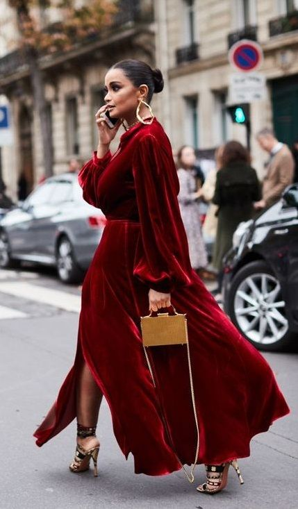 00d9e60a5 velvet red maxi dress. #streetstyle   Fashion   Fashion, Winter wedding  outfits y Style