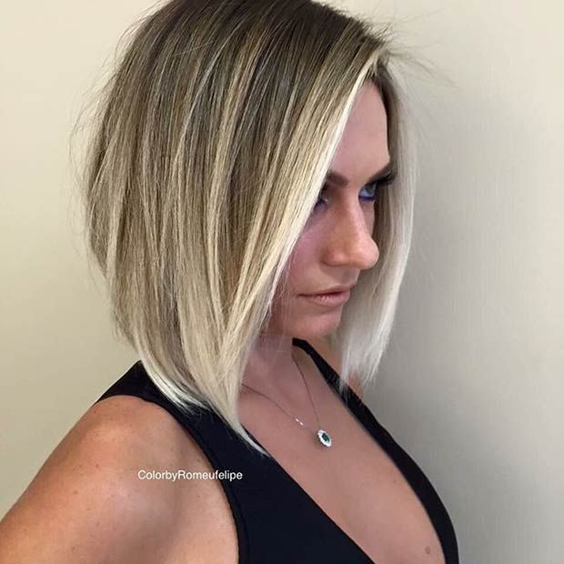 Inverted Bob Haircut + Ice Blonde Highlights