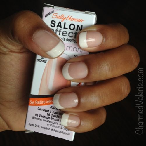 I think its removable if you peel them... sally hansen nail stickers french manicure | Sally Hansen French Mani Nail Polish Strips Review | Charmed Valerie