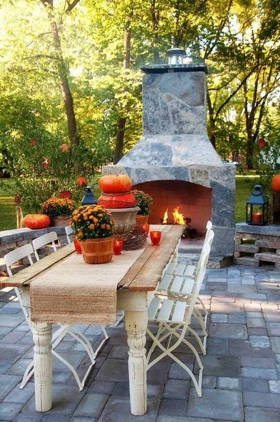 My Sweet Savannah: Fall Decor, Outdoor Living, Patio, Outdoor Tables, Fall Tables, Outdoor Fireplaces, Firepit, Outdoor Spaces, Fire Pit