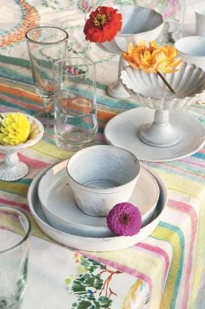 A summer tableware setting using fabric from JAB Anstoetz, Four Seasons Provence