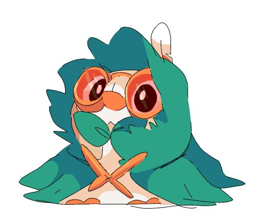 Rowlet dressed up as Decidueye