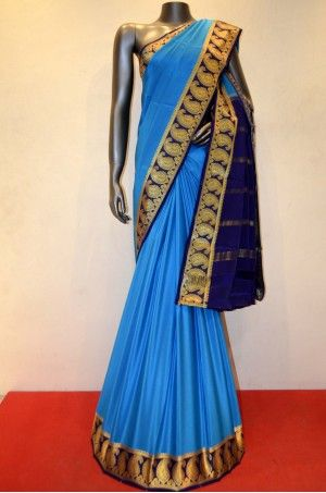 Classic Blue Pure Mysore Crepe Silk With Traditional Contrast Border