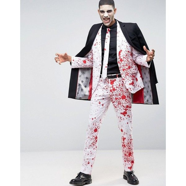 OppoSuits Blood Suit + Tie ($88) ❤ liked on Polyvore featuring men's fashion, men's clothing, men's suits, white, tall mens clothing, slim fit mens clothing, mens white suit, mens slim fit 3 piece suits and mens slim suits