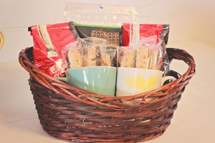 One of the prize baskets. This one has two different kinds of coffee, two mugs, biscotti, and trail mix.