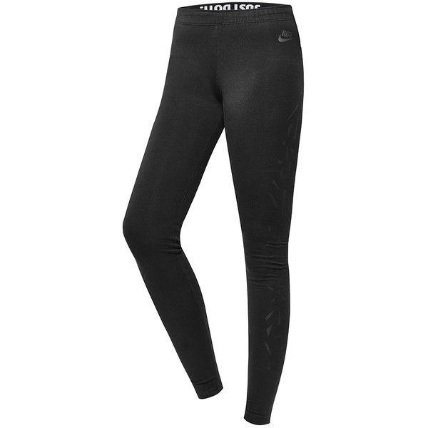 Nike Leg- A -see Legging ($55) ❤ liked on Polyvore featuring pants, leggings, laser cut bella black, shoes, women, womens clothing, black trousers, black pants, black leggings and nike pants