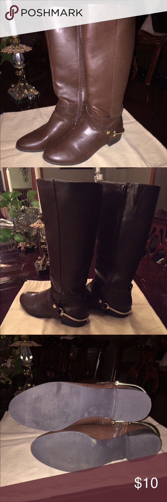 Brown faux leather riding boots Cute zip up faux leather riding boots. Gold tone detail. Elastic slit to accommodate wider calf. Merona Shoes