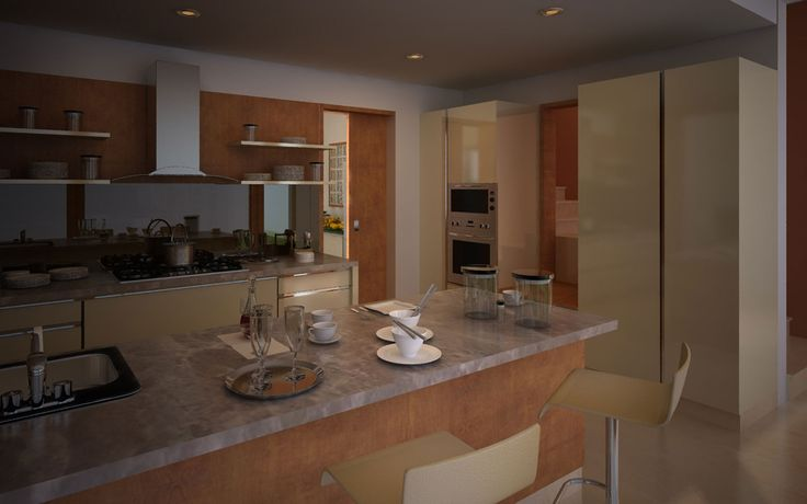 Totalenvironment real estate builders project, Meadow dance, view of earth sheltered villas kitchen room in Rajendranagar, Hyderabad.