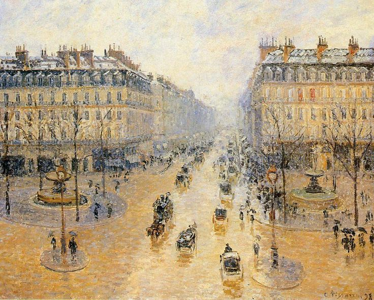 Camille Pissarro's Avenue de l'Orea.  Snow Effect.  1898 @ Pushkin Museum, Moscow.  Just looking at this painting makes me feel like it's a cold, rainy day.
