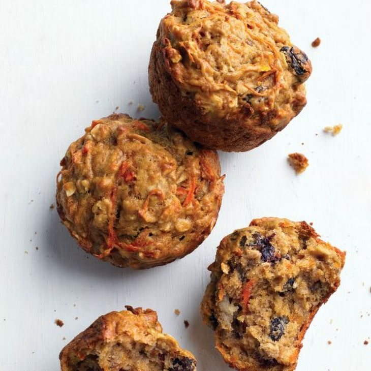 Healthy Morning Muffins Recipe Breakfast and Brunch, Breads with nonstick spray, all-purpose flour, dark brown sugar, baking soda, baking powder, ground nutmeg, coarse salt, rolled oats, raisins, extra-virgin olive oil, large eggs, skim milk, carrots, bananas