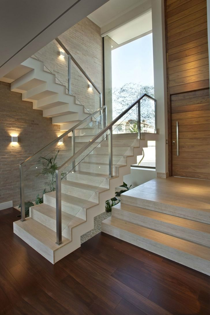 Stair Railing Idea. Frame to match door/windows, with clear glass in between.
