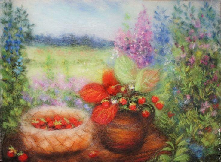 Купить Земляничка душистая! - картина из шерсти - картина в подарок, картина для интерьера, картина с цветами
