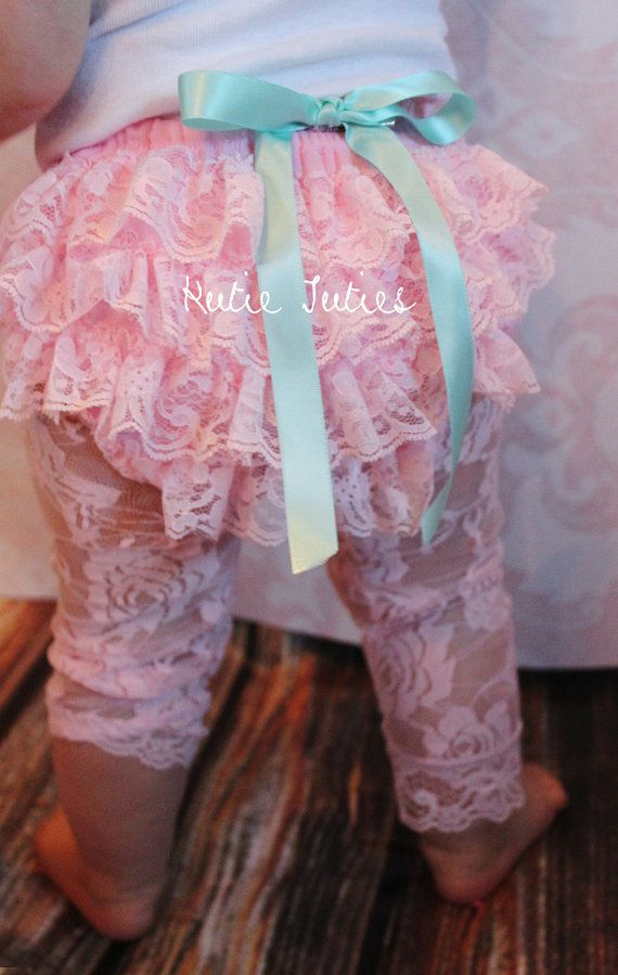 Pink Lace Diaper Cover Aqua Satin rolled bow by KutieTuties, $13.95