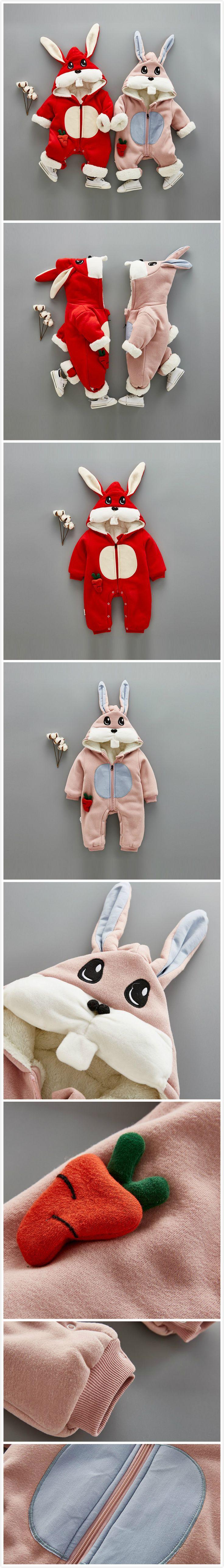 2-Color Thicker Velvet Cute Rabbit Baby Winter Warm Jumpsuit