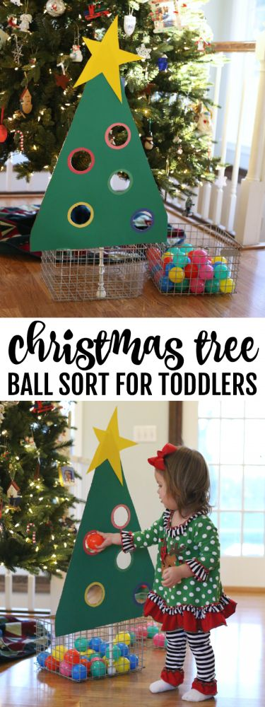 Christmas Tree Ball Sort for Toddlers