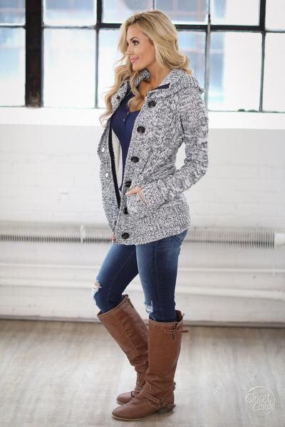 Waiting For You Hooded Sweater - Heathered Navy