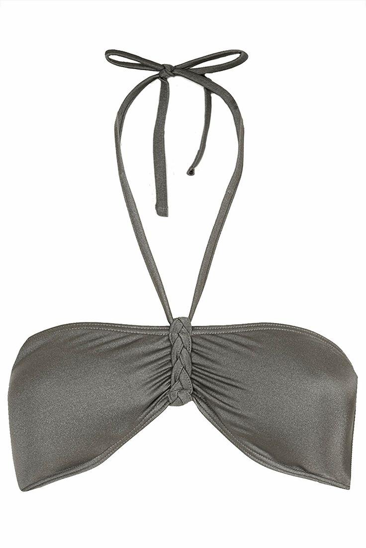 Grey Plait Bandeau Bikini Top - Swimwear - Clothing - Topshop Europe
