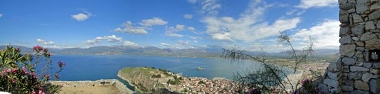 View from the top (step 913) of the flight of stairs leading to the gate of Palamidi Fortress, Nafplio