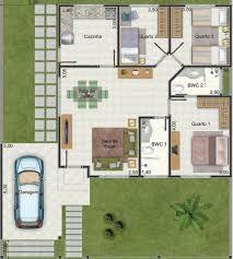 Resultado de imagen para planos de casas con 3 dormitorios y dos baños, de una planta (80 metros cuadrados)