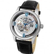 Relógio Masculino de Pulso Automático Pulseira em Couro Stuhrling Original cod87701