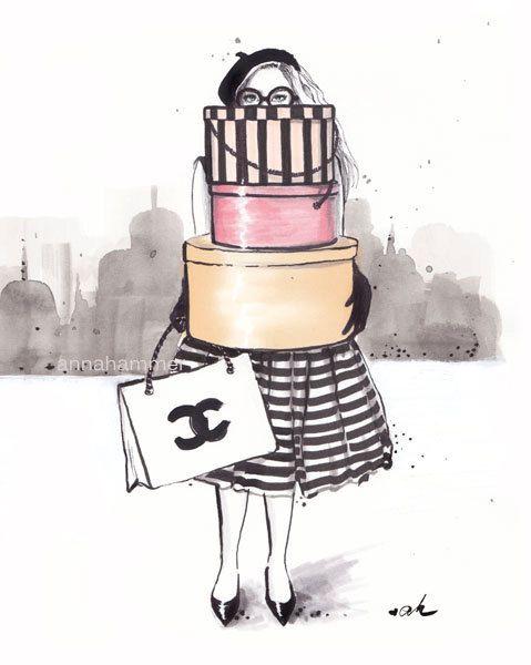 Illustration de mode, impression de Chanel, Chanel Illustration, mode impression, mode Wall Decor, vestiaire Art, « Drogué de faire du Shopping » par worksbyannahammer sur Etsy https://www.etsy.com/be-fr/listing/195558694/illustration-de-mode-impression-de