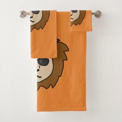 Cool Lion Orange Bath Towel Set - diy cyo customize create your own personalize