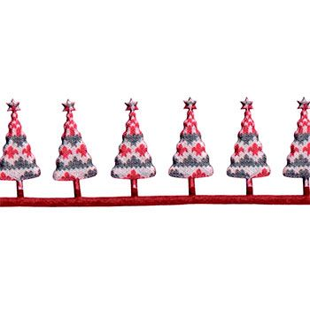 20907 Deko bånd 40mm juletræ grå/hvid/rød 2m