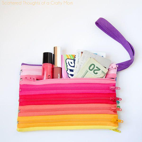 DIY: rainbow zipper pouch